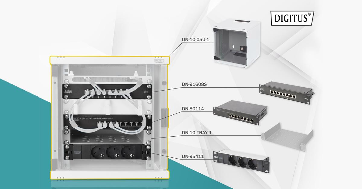 """DIGITUS Netzwerk-Set 254 mm (10"""") - 6HE, 312 x 300 mm (B x T)"""