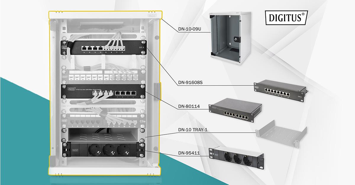 """DIGITUS Netzwerk-Set 254 mm (10"""") - 9HE, 312 x 300 mm (B x T)"""